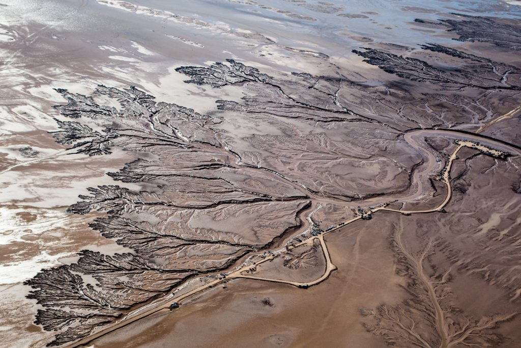 Colorado River Delta, Mexico. Dried by irrigation, the Colorado no longer flows through its delta. The water comes from the sea and while taking the photo it was low tide. Aerial support provided by LightHawk.